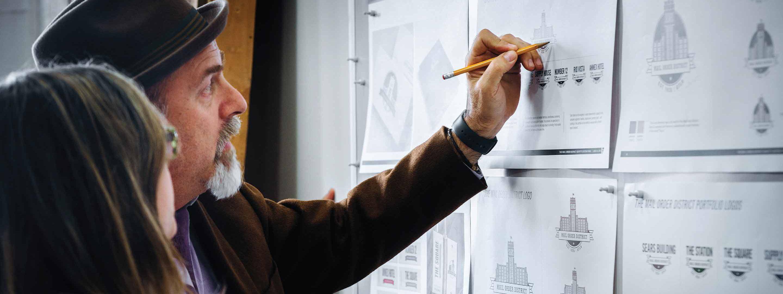 Jamie Schwartzmann editing a storyboard.
