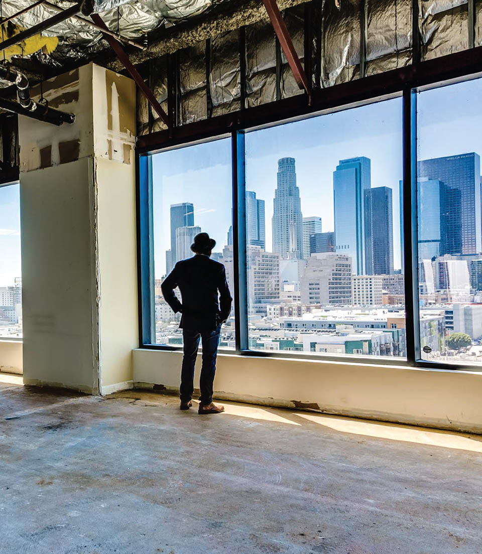 Jamie Schwartzmann looking at DTLA.